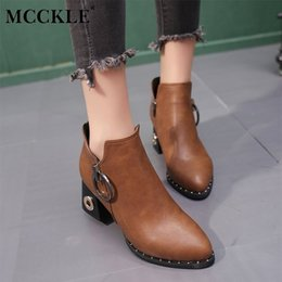 High Heeled Winter Shoes Australia - Dress Shoes Mcckle Women Winter Rivets Platform Ankle Boots Female Fashionable Zipper High Heels Pumps Ladies Casual Party Footwear