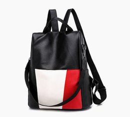 Chinese  The most popular ladies fashion shoulder bag stitching anti-theft large capacity outdoor travel backpack student bag free shipping manufacturers