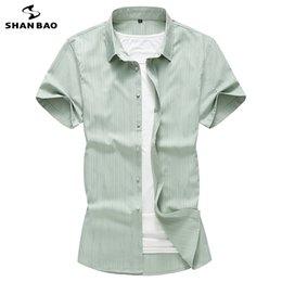 $enCountryForm.capitalKeyWord NZ - Brand Green Sky Blue White Light Stripe Men's Business Casual Summer Fashion Short Sleeve Shirt Big Size 5xl 6xl 7xl T2190605