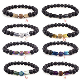 Healing magnets online shopping - 8 Colors Volcanic Lava Stone Essential Oil Diffuser Bracelets Bangle Healing Balance Yoga Magnet Arrow Beads Bracelet