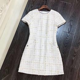 2019 primavera verano sin mangas de cuello redondo a cuadros de impresión por encima de la rodilla vestido de lujo vestidos de pista RCJ9041114