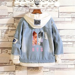 $enCountryForm.capitalKeyWord Australia - BTS Kpop Love Yourself Denim Jean Stitching Jacket Coat Harajuku Bangtan Boy Clothes fans Spring Autumn Hoodies BTS Accessories