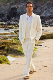 Beach Vests Men Australia - 3 Piece Beige Linen Suit Men Blazer Summer Beach Men Suit for Wedding Pants Vest Casual Jacket Tuxedo Costume Homme Mariage