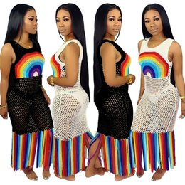 62e4dd15f3b9 Rainbow Plus Size Dresses Australia - Women Sheer Tassel Beach Dresses  Rainbow Print Sexy Long Swimsuit
