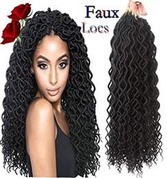 $enCountryForm.capitalKeyWord Australia - Goddess Curly Faux Locs Crochet Hair Deep Wave Havana Mambo Dreadlocks Synthetic Twist Crochet(18Inch #1B)