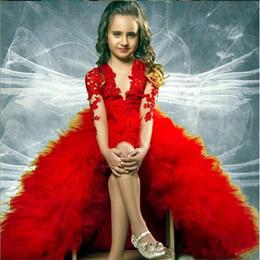$enCountryForm.capitalKeyWord Canada - Red Hi-Lo Lace Flower Girls Princess Dress Kids Pageant Party Dress For Dance Wedding Birthday Ball Gown 17flgB93