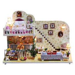 Discount handicraft dolls - Wooden DIY Model Dollhouse Furniture Miniature Doll House Village Life Assemble Kit Toys Handicraft Birthday Gift