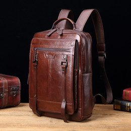 Wholesale hot Genuine leather Men backpack retro casual quot laptop bags fashion male large capacity travel shoulder bags business