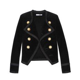 velvet design women 2019 - 2019 New Runway design Women Notched Collar Short Jacket Coat Winter Double Breasted Suit Female Velvet Black Slim Outwe