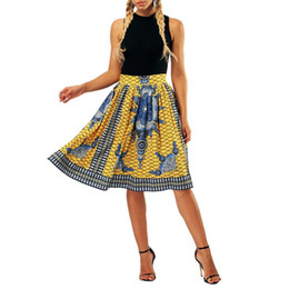 0a0358bec Faldas Mujer Retro Bubble Skirt High Waist Split Pleated Midi Large Flared  A-line Skirt Half-length Print