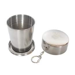 camping cups wholesale NZ - High Quality Outdoor Portable Stainless Steel Folding Cup 3 Section Telescopic Camping Hiking Traveling Backpack Hanging Cups With Key Chain