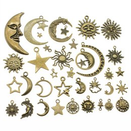 Moon Stars Charms Australia - 300Gram Antique Bronze Color Zinc Alloy Mix Styles Sun Moon Star Charms Pendant Jewelry Accessories