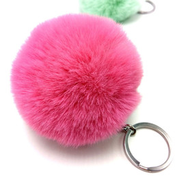 $enCountryForm.capitalKeyWord UK - 8CM Fluffy Key Chains SoftBall Pompom Keychain Cute fake Rabbit Fur For Women Bag Cars Pom Pom Keyring Pendant Porte Clef Charm