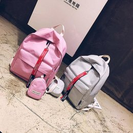 $enCountryForm.capitalKeyWord Australia - Pink Handbags Backpacks Designer Solid Color Two Sets School Bags College Preppy Style Shoulder Bag Canvas Casual Travel Ladies Backpack