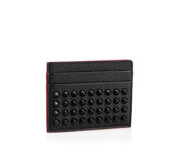 China Black Genuine Leather Credit Card Holder Wallet Classic Rivet Designer ID Card Case Coin Purse New Arrivals Fashion Red Slim Pocket Bag suppliers