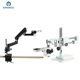 Wholesale Adjustable Black Extension Type Long Arm Microscope Alloy Stand Bracket Holder White Dual Boom Stereo Microscope Support