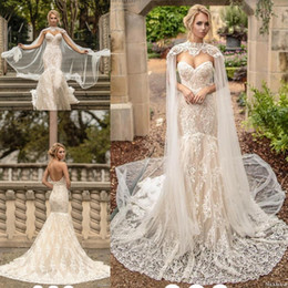 Lace Dress Applique Details Australia - Naama&Anat Mermaid Wedding Dresses with Long Cape 2019 Full Lace Applique Luxury Outdoor Country Princess Church Garden Wedding Gown