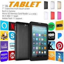 Vente en gros Tablette PC 7G 8G Tablette Android Quad Core WIFI 3G Tablette intelligente GSM WCDMA avec double emplacement pour carte SIM Tablette Phablet avec boîte de vente au détail