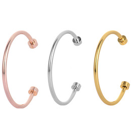 Man Silver Bracelet Singapore Australia - 2019 new silver gold rose gold nail punk open bangle lovers women and man bangle cuff Bracelets free shipping