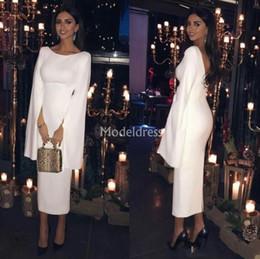 $enCountryForm.capitalKeyWord Australia - Muslim Simple Sheath Prom Dresses 2019 Jewel Neck Bell Sleeves Backless Mid-Calf Evening Party Gowns Elegant Vestidos De Fiesta Custom Made