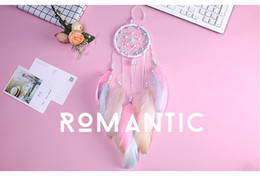 art craft wall hanging NZ - Dream Catcher With Feathers Home Car Wall Hanging Decoration Ornament Craft Wind Chime Pink Free Shipping