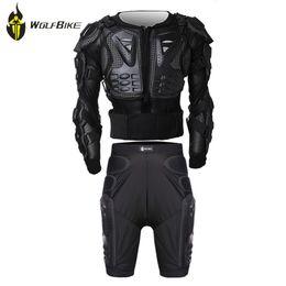 $enCountryForm.capitalKeyWord Australia - WOLF BIKE Protectie Gears Jacket+Pants Armor Clothes Set MTB Bike Leg Knee Pads Resistance Racing Motocross Armor Knee Support