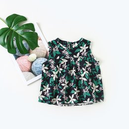 8665b4a0d9043 2018 Summer New Baby Girls Flower Printing Shirt Infant Lolita Blouses  Children Cotton Sleeveless Tops Kids Blouses Thin Vest
