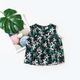 Floral Print Shirts Baby Australia - 2019 Summer New Baby Girls Flower Printing Shirt Infant Lolita Blouses Children Cotton Sleeveless Tops Kids Blouses Thin Vest