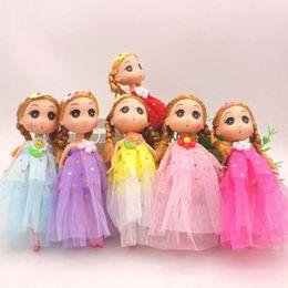 $enCountryForm.capitalKeyWord Australia - Mini Dolls 18 Cm Keychain Blonde Hair Two Ponytail Doll Toys for Girls Kids Birthday Gifts Toy Children