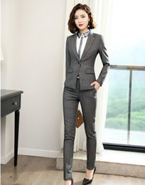 uniform work women Canada - New 2019 Formal Grey Blazer Women Pant Suits Office Ladies Work Wear Sets Business Clothes Uniform Styles