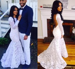 $enCountryForm.capitalKeyWord Australia - Sexy White Lace Backless Mermaid Prom Dresses 2016 Crew Neck Illusion Long Sleeve Evening Dresses Formal Party Gowns Custom Pageant Dresses