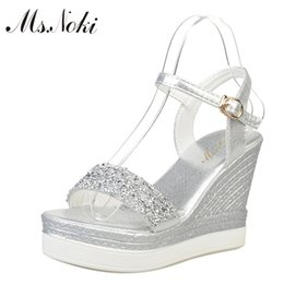 women wedges pumps casual shoes Canada - Ms.Noki high heels sandals women shinning glitter silver gold platform wedges 2019 summer ladies open toe casual shoes pumps hotMX190902