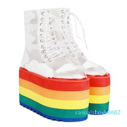 woman pvc socks Australia - Runway Shoes Rainbow Candy Color Socks Boots High Platform Wedges Transparent Ankle Boots Clear PVC Lace Up Increasing Shoes c27