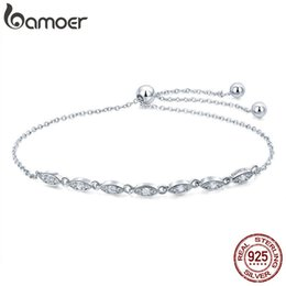 $enCountryForm.capitalKeyWord Australia - Bamoer Trendy 925 Sterling Silver Droplet Chain Link Bracelets For Women Luminous Cz Fashion Bracelet Jewelry Making Gift Scb086 MX190719