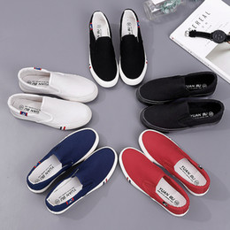 Spring Fall Canvas Shoes Australia - 2019 Spring Canvas Small white shoe female Korean version student shoes flat bottom casual plate shoes couple oversized code lazy shoes
