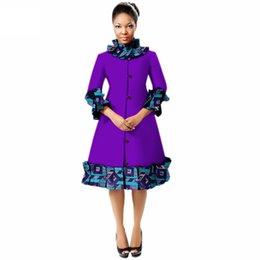 floral trench coat women Australia - New Autumn African Coat For Women Dashiki Fashion Long Sleeve Africa Clothing Bazin Riche Plus Size Trench Top WY3235