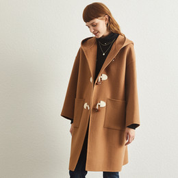 warm trench coat women Canada - Luxurious 100% cashmere double faced woolen coat women hooded coats warm new cow horn button cape woolen trench coat loose brown