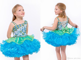 $enCountryForm.capitalKeyWord Australia - Cute Little Baby Girl Pageant Dresses Short With Bow Beadings Glitz Children Ball Gowns Infant Cupcake Flower Girls Dresses Party Baby Gowns