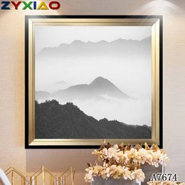 Oil Ink NZ - ZYXIAO Large Size Oil Painting Pop Ink wash landscape mountain Home Decor on Canvas Modern Wall Art No Frame Print Poster picture A7674