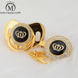 MIYOCAR Gold silver bling Rhinestone crown beautiful bling pacifier and pacifier clip BPA free dummy unique design GCR2 on Sale