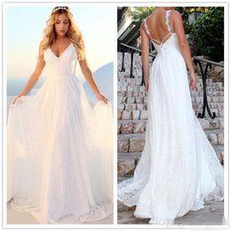 Cheap Lace Nude White Dress Australia - 2019 Boho Beach White Lace Wedding Dress Cheap Long Backless Beach Bridal Gowns Vestido De Novia Spaghetti Wedding Gowns
