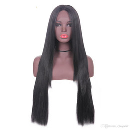 $enCountryForm.capitalKeyWord Australia - Long Straight Lace Front Synthetic Hair Layered Wigs Free Part X-TRESS Natural Black 1B# Ombre Color 13x4inch Lace Wig For Women