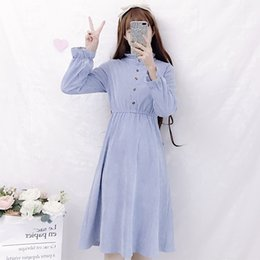 japan dresses sleeves NZ - Women's Clothing Autumn women dress Japan Korean Sweet Solid ulzzang Ruched Stand Flare Sleeve New hipster Fashion Chic Dresses