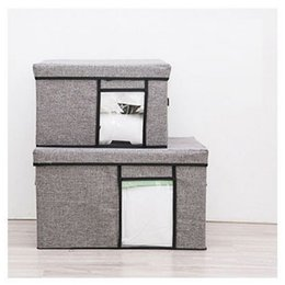 Fold Storage Box Australia - LASPERAL Window Cotton Linen Storage Box Organizer Household Clothes Sundrie Storage Box Folding Container Wardrobe Home