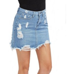 caacc0668542b9 Casual High Waist Denim Blue Light Wash Women Distressed Mini Pencil Ladies  Sexy Ripped Summer Vintage Jeans Skirt Q190529
