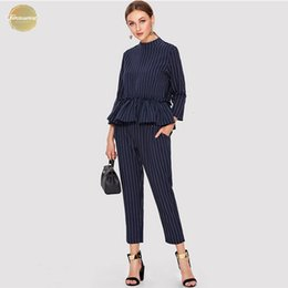 $enCountryForm.capitalKeyWord UK - Elegant Striped Navy Top And Pants Office Ladies Ruffle Applique Hem Round Neck Regular Fit Women Summer Fashion Twopiece