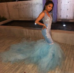 $enCountryForm.capitalKeyWord Australia - 2019 V Neck Tulle Mermaid Long Prom Dresses Light Sky Blue Lace Applique African Sweep Train Evening Gowns Vestidos De Festa