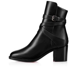 solid plastic blocks NZ - Hot Sale-Boots Black Calfskin Genuine Leather Red Bottom Ankle Boots For Women Karistrap Style High Block Heel Boot Ankle Boot With Strap