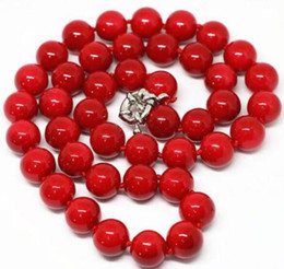 8mm Red Coral Beads Australia - FREE SHIPPING New fashion red coral 8mm beads stone necklace 17inch