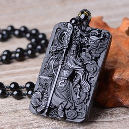 Black Hand Pendant NZ - Natural obsidian Natural Black Obsidian Dragon GuanYun Necklace Pendant Hand-Carved Lucky Amulet Pendant Men's Jewelry With Free Beads Chain